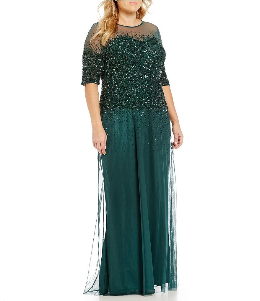 Adrianna Papell Plus Beaded Sheer-Sleeve Gown