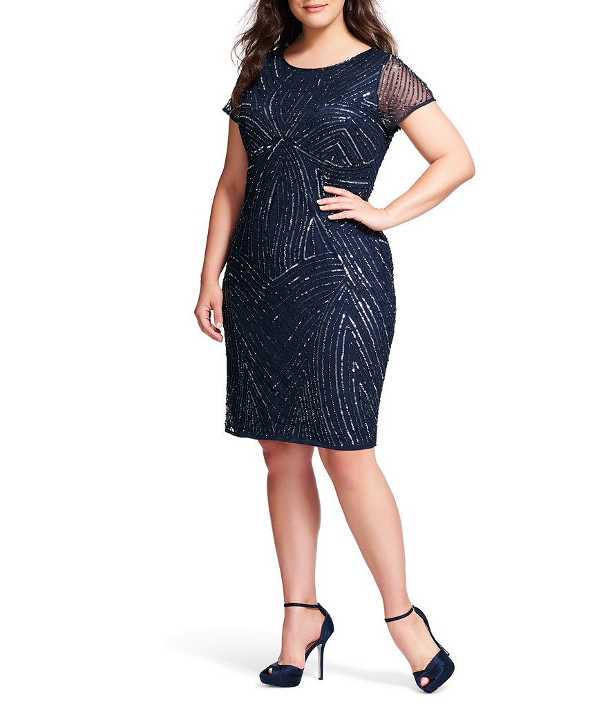 Adrianna Papell Plus Beaded Short Sleeve Sheath Dress
