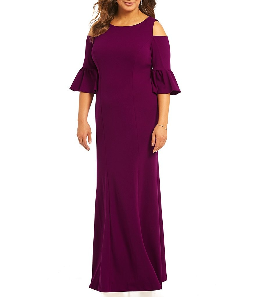 Adrianna Papell Plus Cold-Shoulder Bell-Sleeve Gown