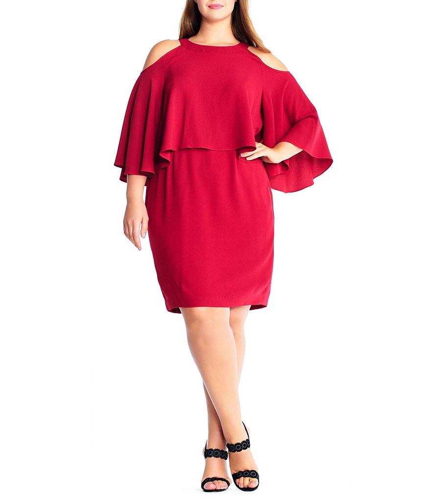 Adrianna Papell Plus Cold Shoulder Bell Sleeve Sheath Dress