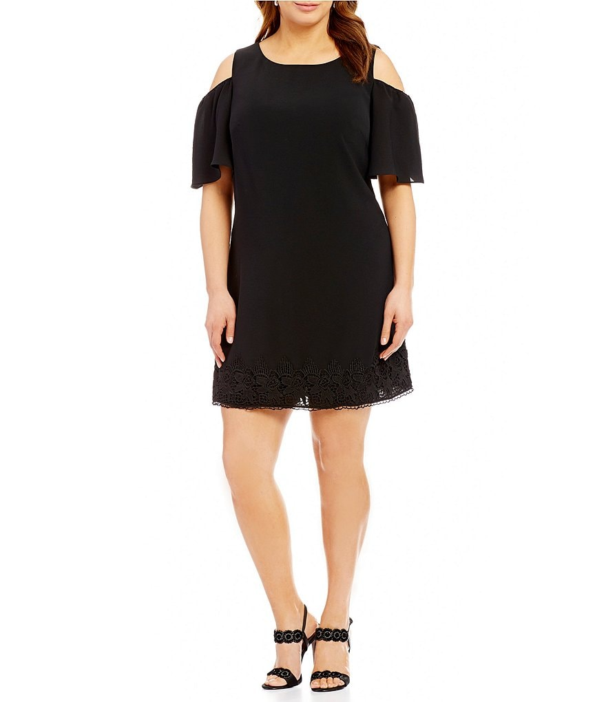 Adrianna Papell Plus Cold Shoulder Eyelet-Trim Shift Dress
