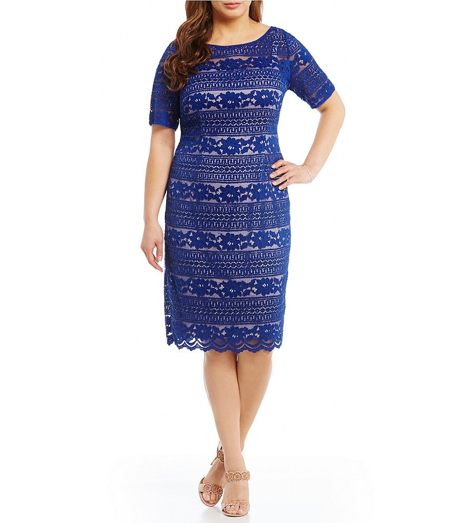 Adrianna Papell Plus Corded Lace Sheath Dress