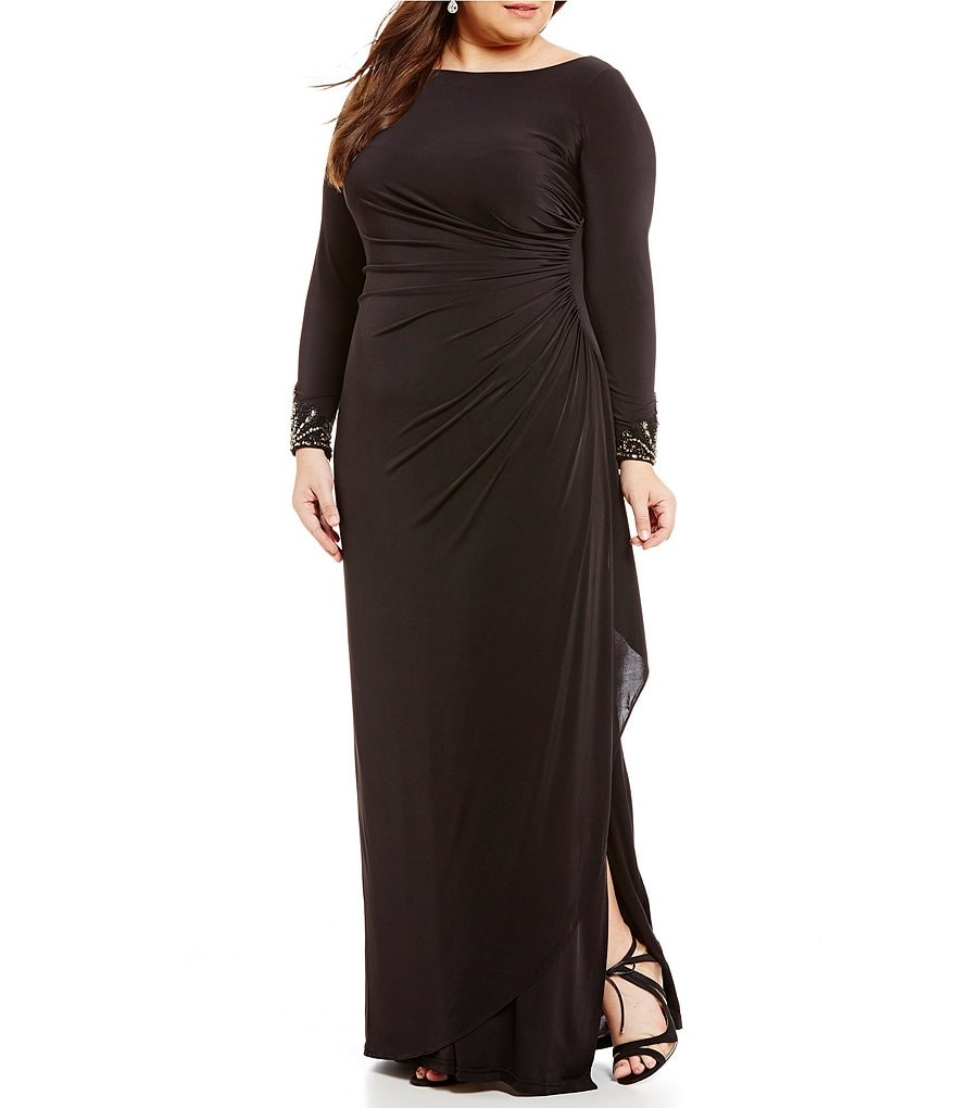 Adrianna Papell Plus Long-Sleeve Draped Jersey Gown