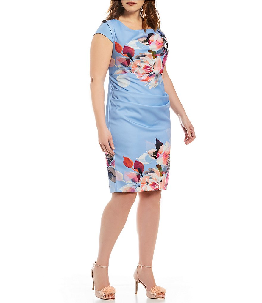 Adrianna Papell Plus Magnolia Print Cowl-Neck Sheath Dress