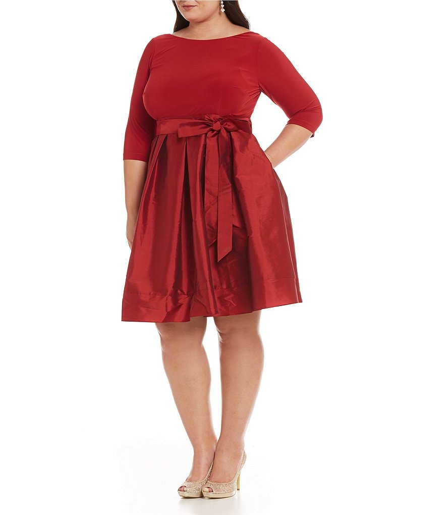 Adrianna Papell Plus Matte Jersey Taffeta Fit-and-Flare Dress