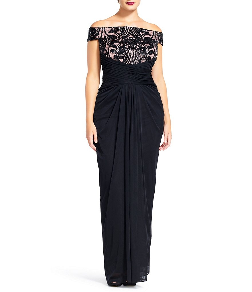 Adrianna Papell Plus Off-Shoulder Sequin Tulle Gown