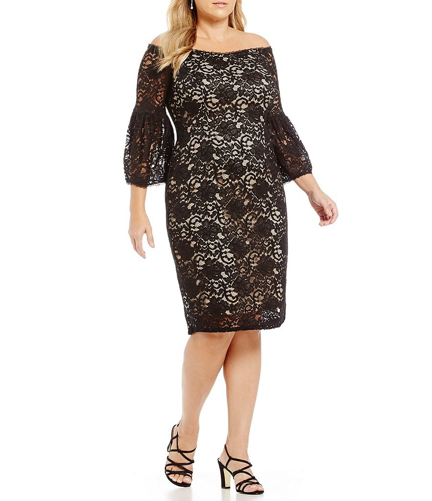 Adrianna Papell Plus Off-the-Shoulder Lace Dress