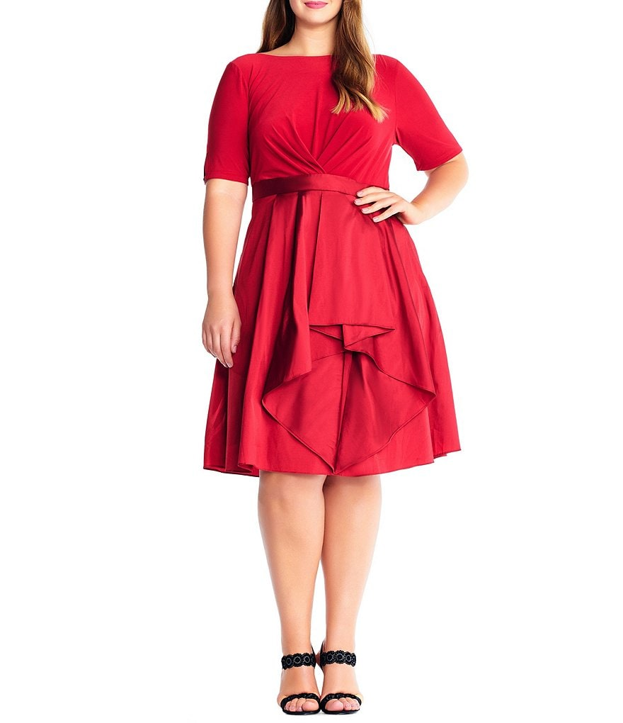 Adrianna Papell Plus Origami Pleated Taffeta Party Dress