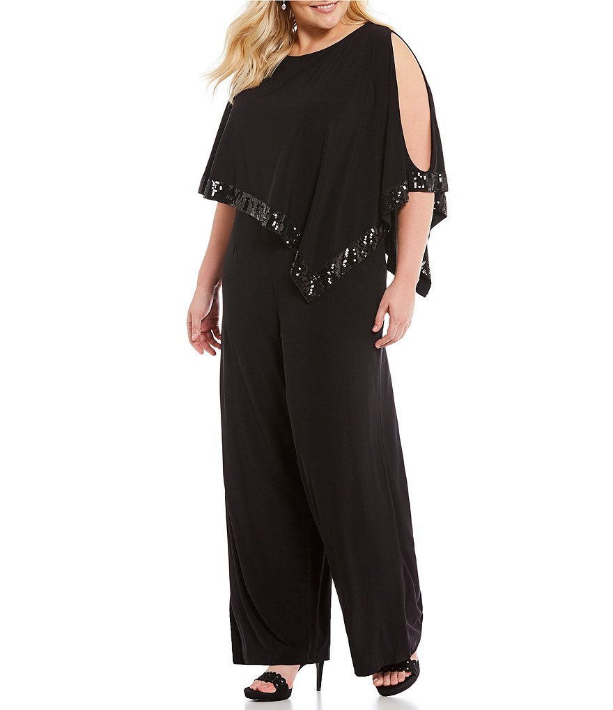 Adrianna Papell Plus Sequin-Trim Capelet Jumpsuit