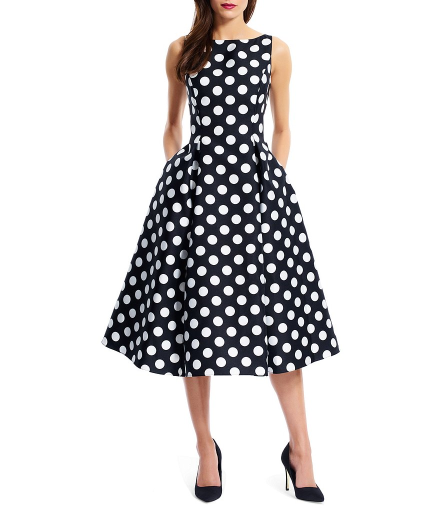 Adrianna Papell Polka Dot Mikado Dress