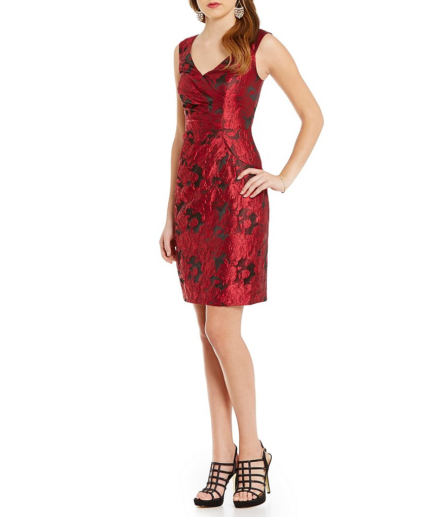 Adrianna Papell Portrait Collar Sleeveless Jacquard Dress
