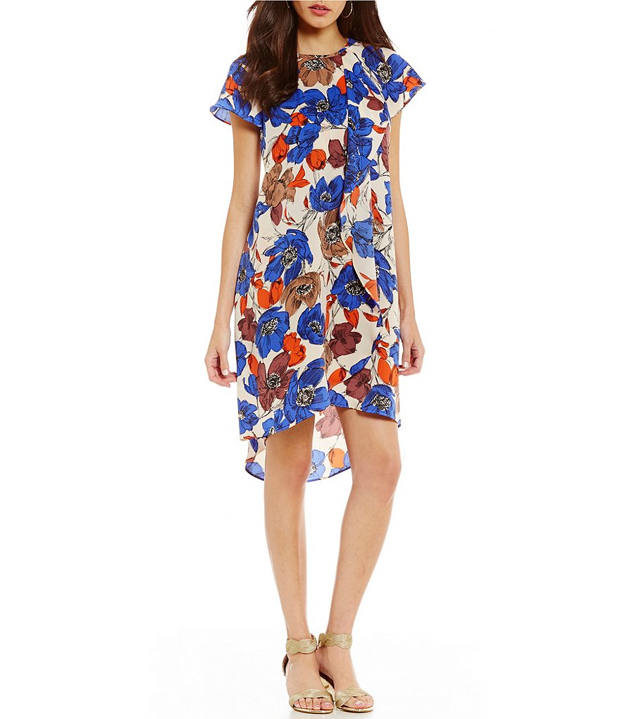 Adrianna Papell Printed Draped Shift Dress