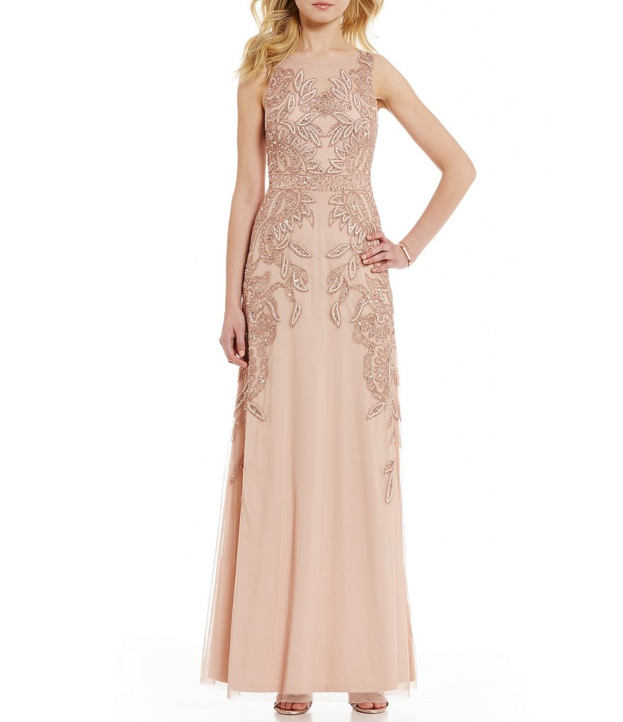 Adrianna Papell Round Neck Sleeveless Beaded Gown