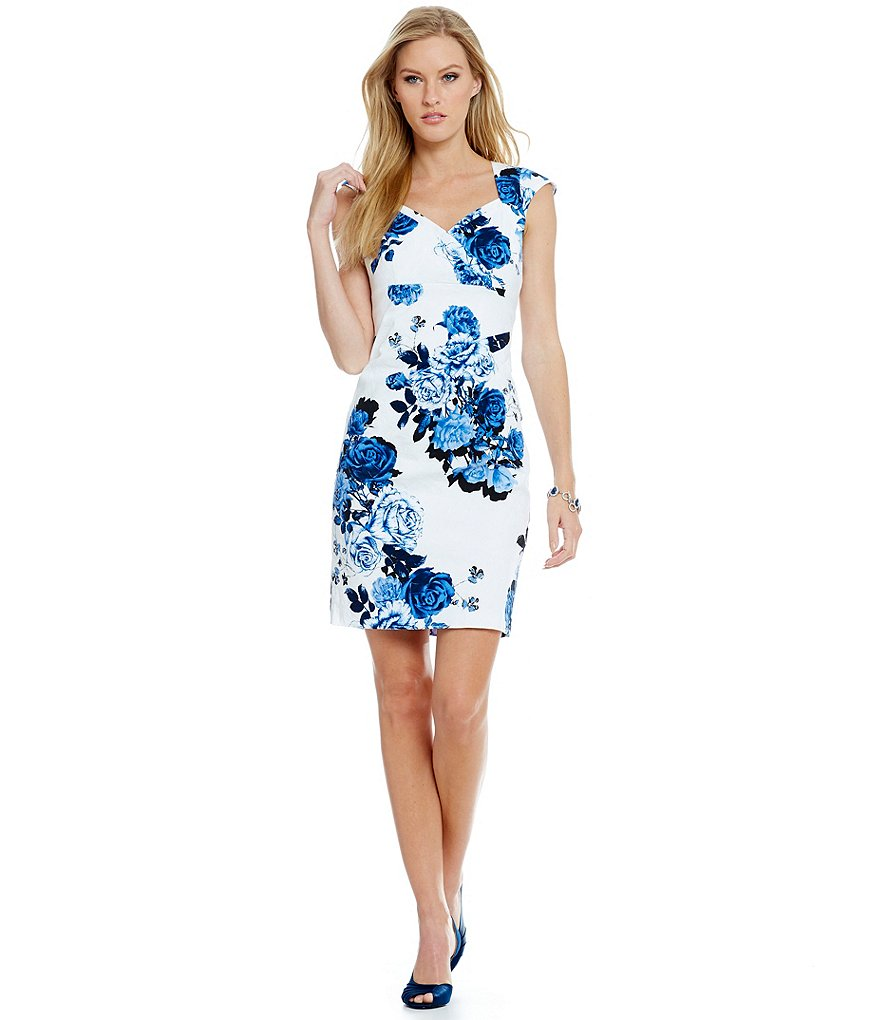 Adrianna Papell Ruched Floral Jacquard Sweetheart Sheath Dress
