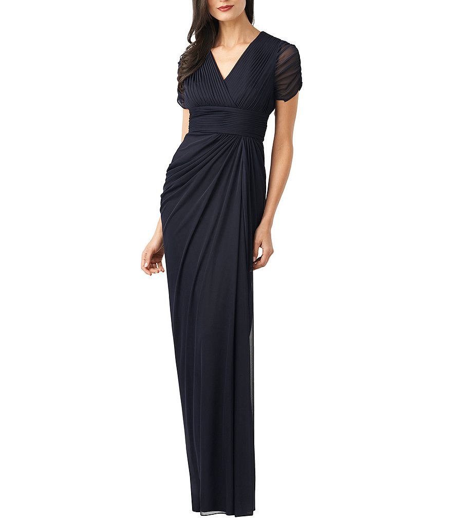 Adrianna Papell Ruched Short-Sleeve Draped Gown