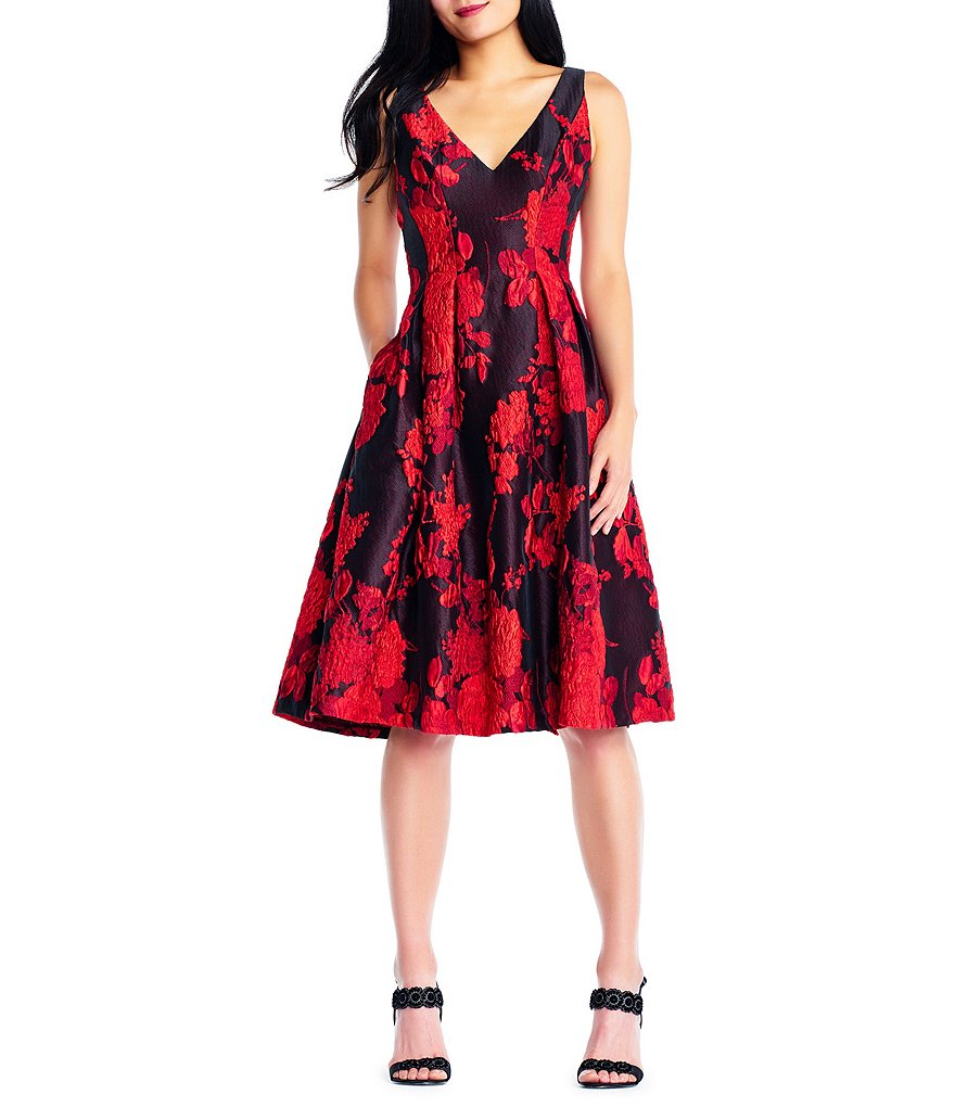 Adrianna Papell Scarlett Jacquard Fit And Flare Dress