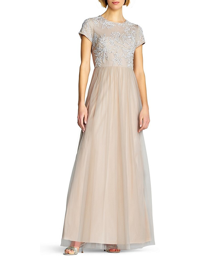Adrianna Papell Sequin Beaded Bodice Gown