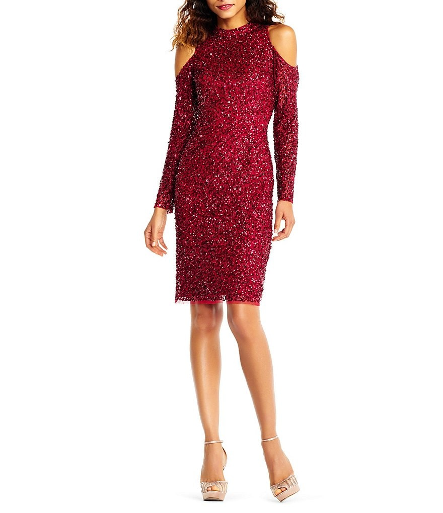 Adrianna Papell Sequin Cold Shoulder Dress