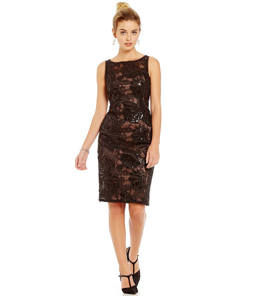 Adrianna Papell Sequin Embroidered Lace Tulle Dress