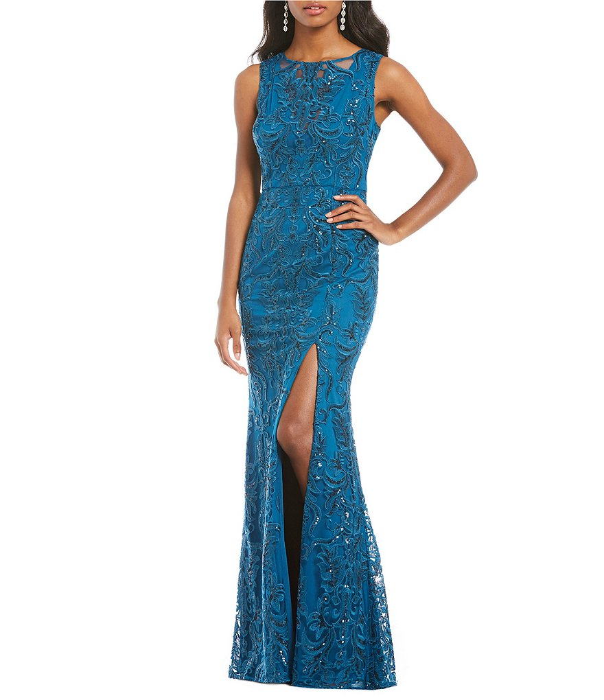 Adrianna Papell Sequin Embroidered Mermaid Gown