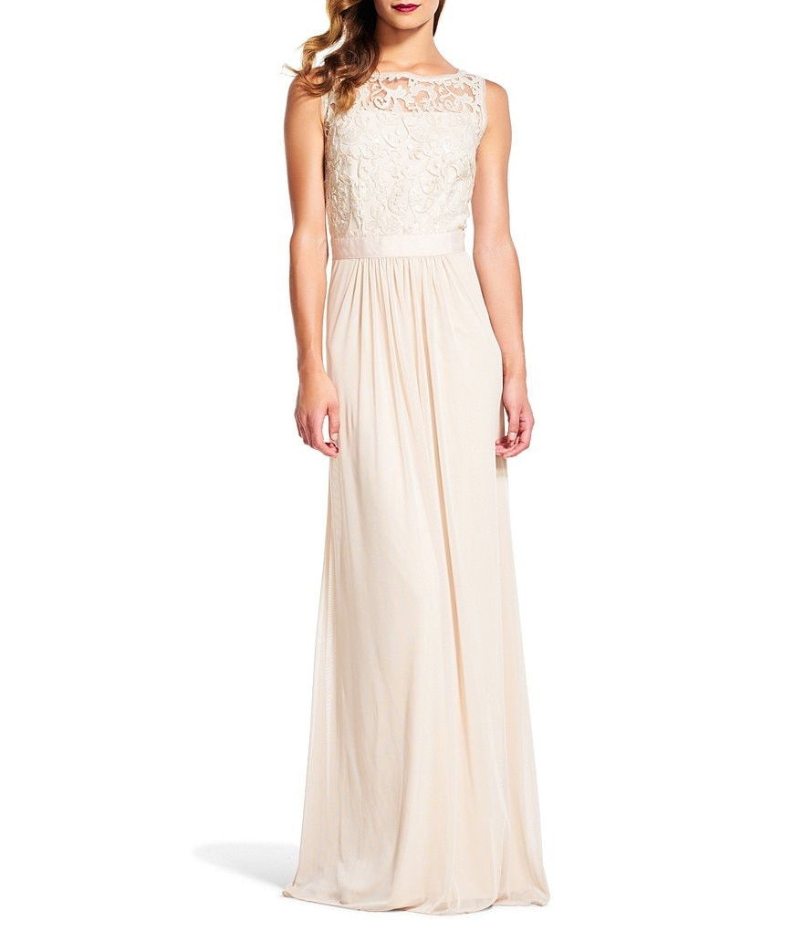 Adrianna Papell Sequin Lace Chiffon Gown