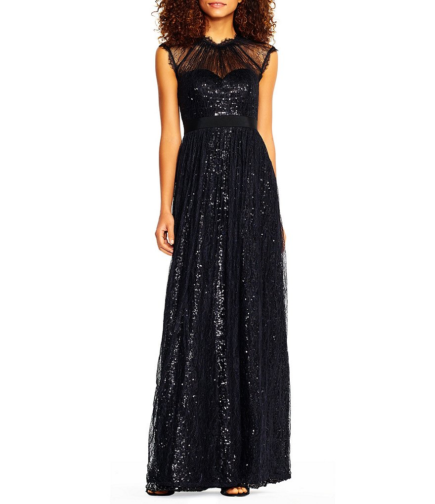 Adrianna Papell Sequin Mesh Lace Gown