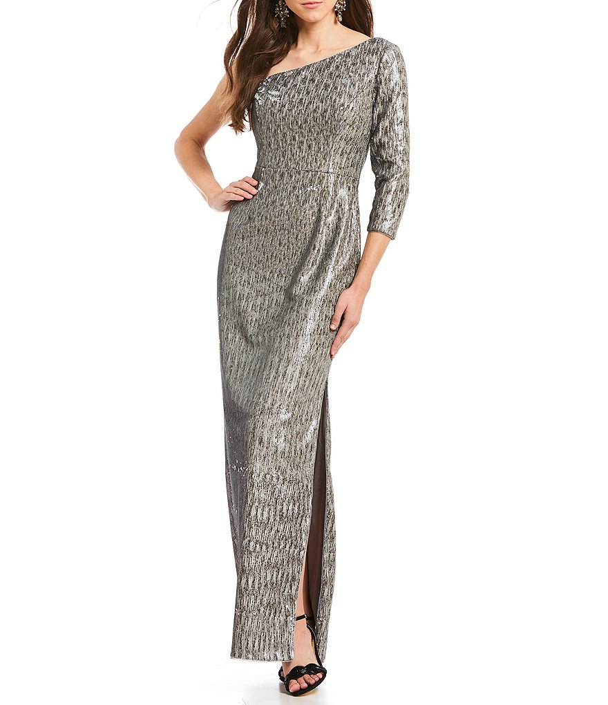Adrianna Papell Sequin One Shoulder Column Gown