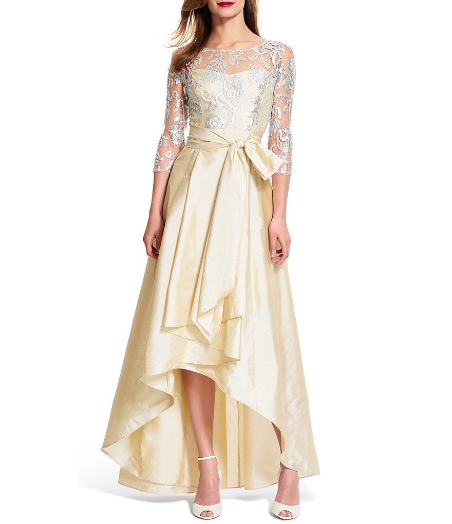 Adrianna Papell Sequined Illusion Lace Hi-Low Gown
