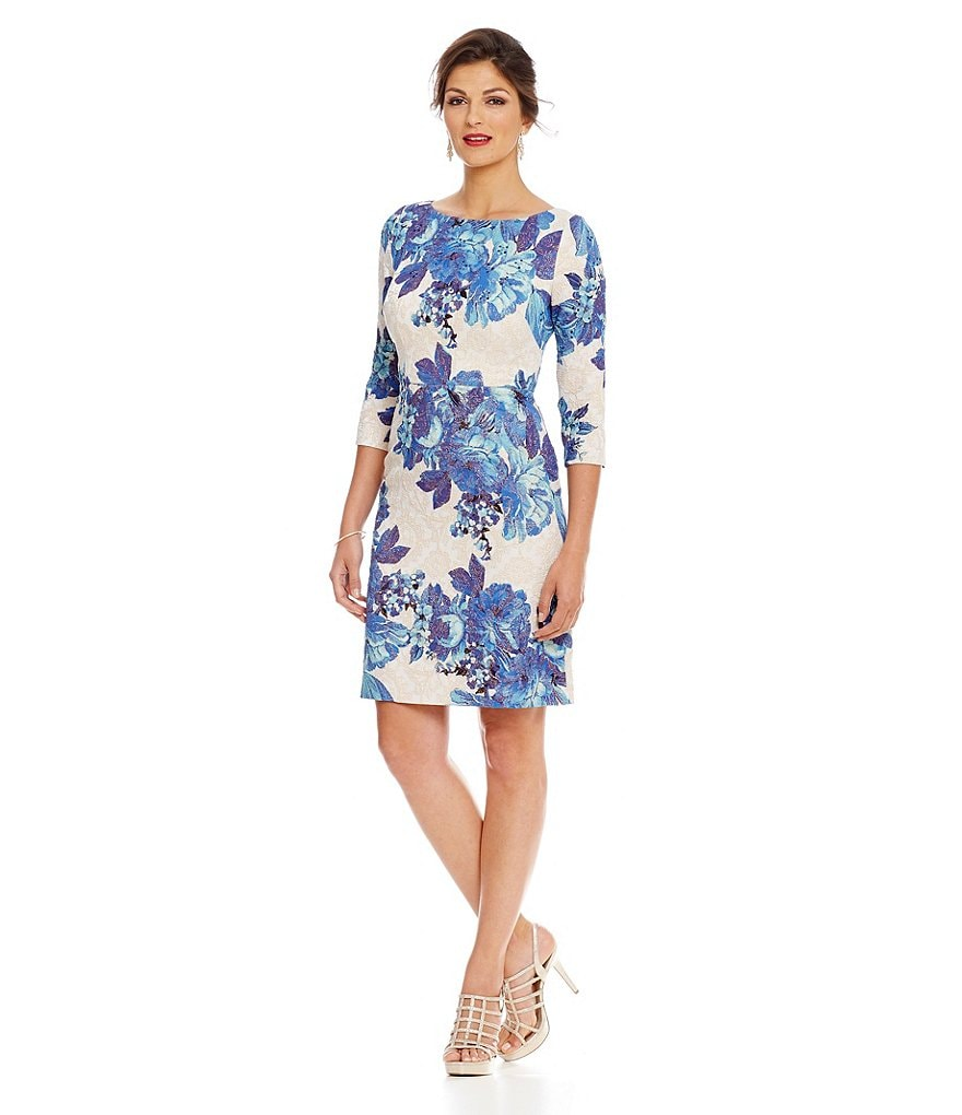 Adrianna Papell Shimmer Floral Jacquard A-Line Dress