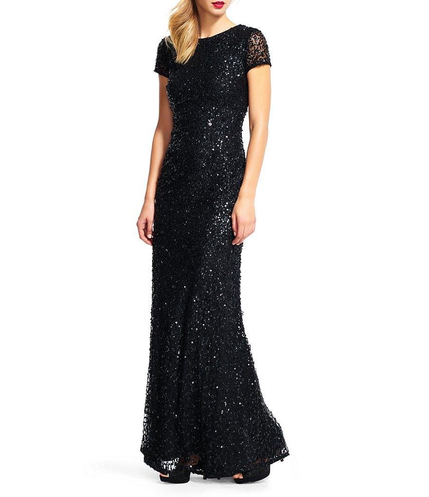 Adrianna Papell Short-Sleeve Sequined Long Skirt Gown | Dillards