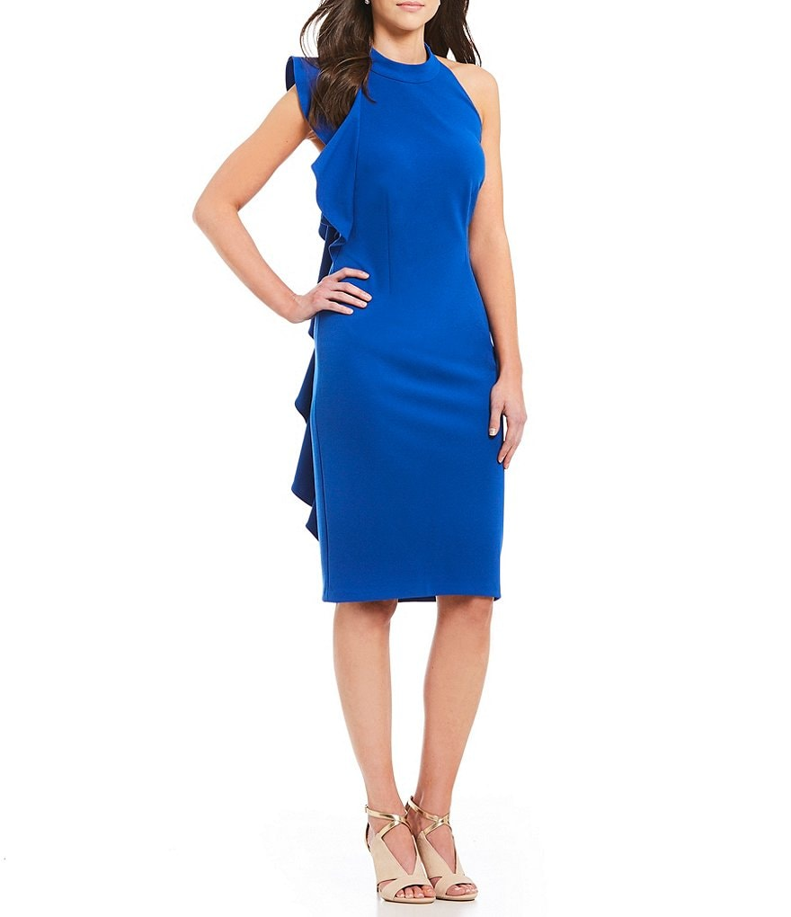 Adrianna Papell Side Ruffle Halter Dress