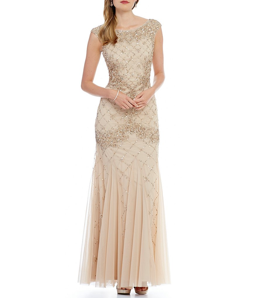 Adrianna Papell Sleeveless Fully Beaded Gown