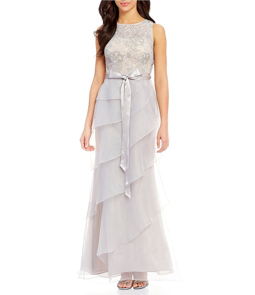 Adrianna Papell Sleeveless Sequin Lace & Organza Ruffle Tiered Gown ...