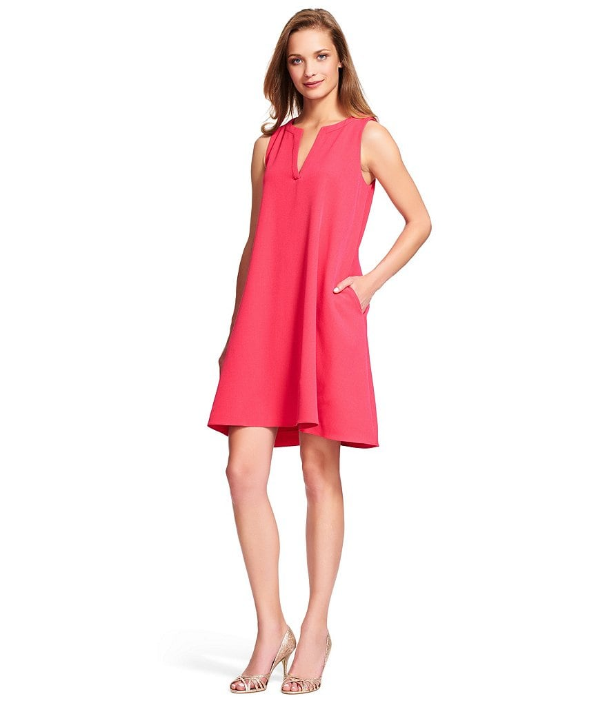 Adrianna Papell Split Neck Trapeze Dress