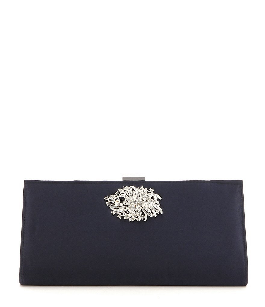 Adrianna Papell Stacee Brooch Satin Clutch