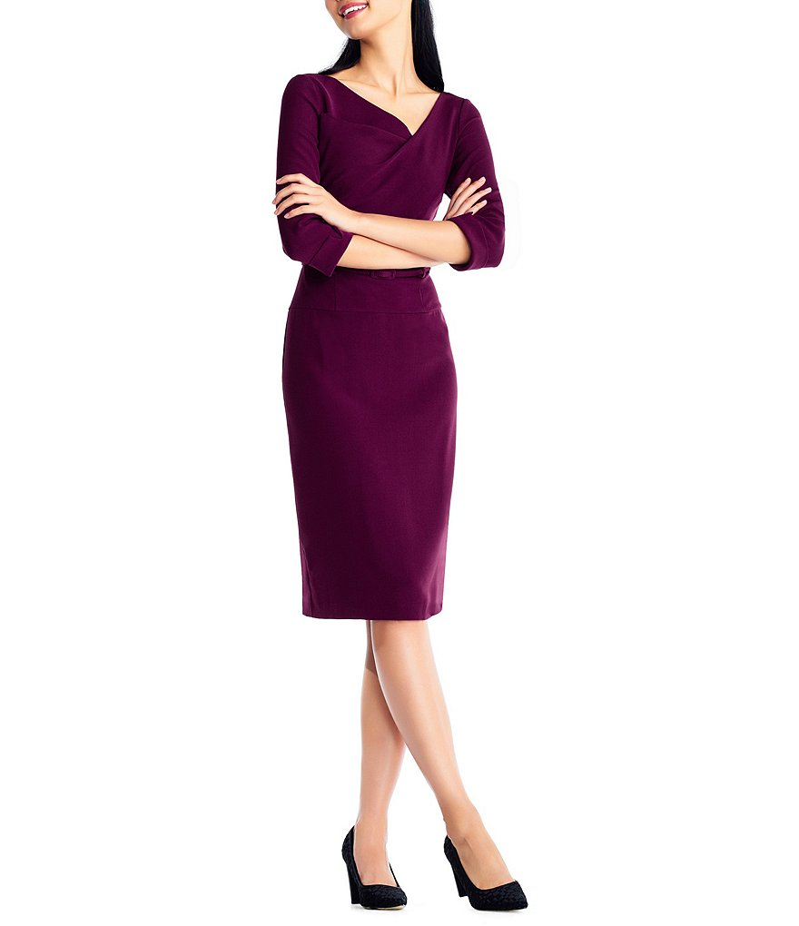 Adrianna Papell Stretch Crepe Belted Sheath Dress