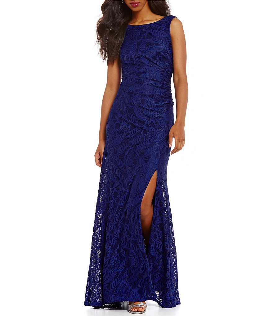 Adrianna Papell Stretch Lace Cowl Back Gown