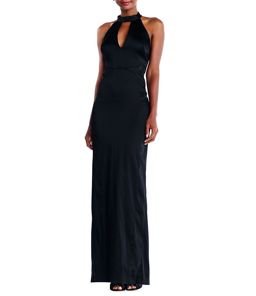 Adrianna Papell Stretch Satin Mock Choker Gown