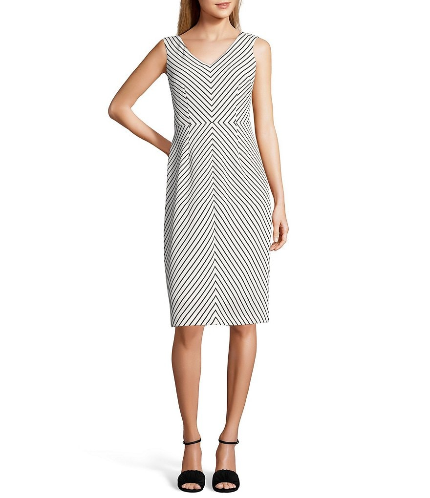 Adrianna Papell Stripe Ottoman Sheath Dress