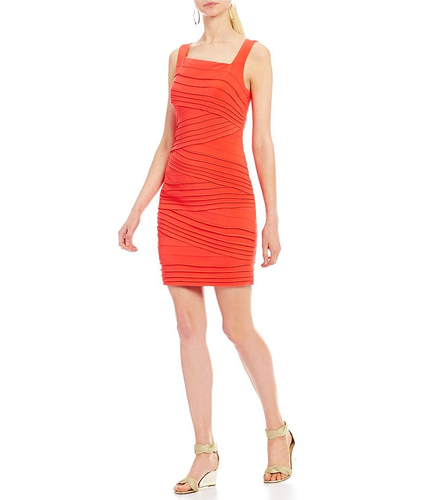 Adrianna Papell Striped Banded Fitted Sheath Dress