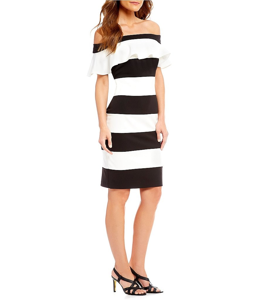 Adrianna Papell Striped Crepe Off the Shoulder Ruffled Sheath Dress