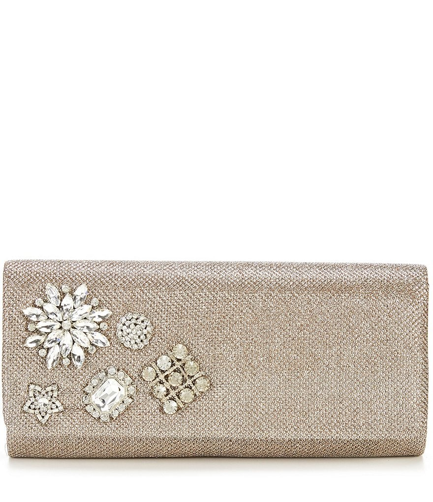 Adrianna Papell Sunny Metallic Brooch Clutch