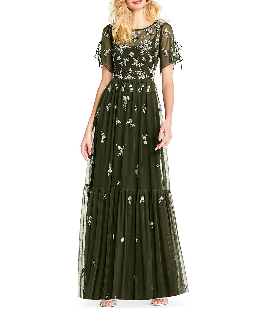 Adrianna Papell Tie Sleeve Floral Beaded Tiered Gown
