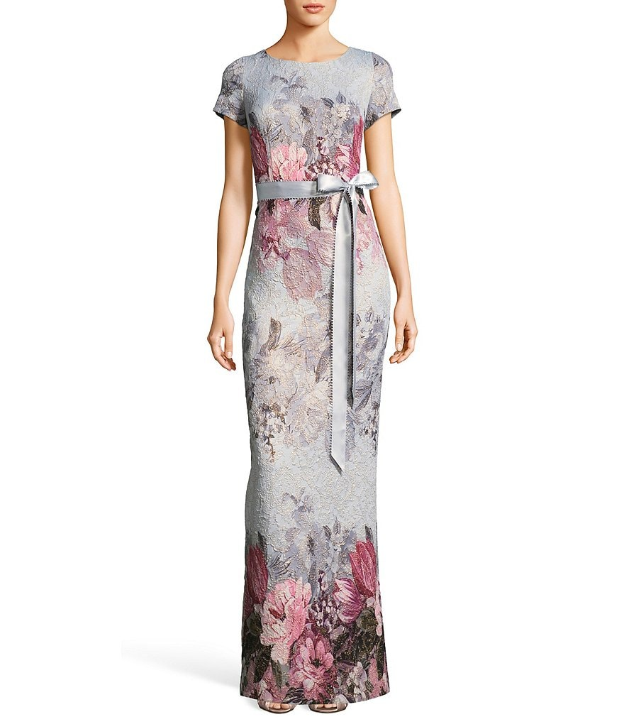 Adrianna Papell Tie Waist Long Floral Print Gown