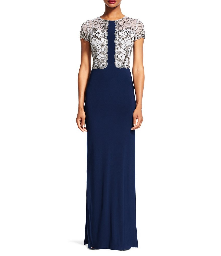 Adrianna Papell Two-Tone Beaded Bodice Jersey Gown