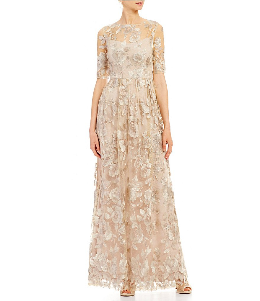 Adrianna Papell Two-tone Illusion Embroidered Lace Ball Gown   Dillards