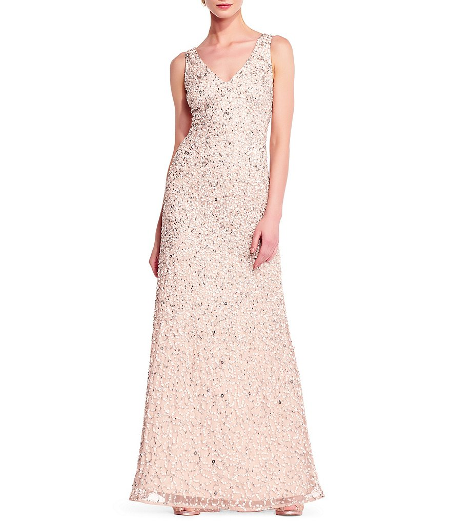 Adrianna Papell V-Neck Beaded A Line Gown