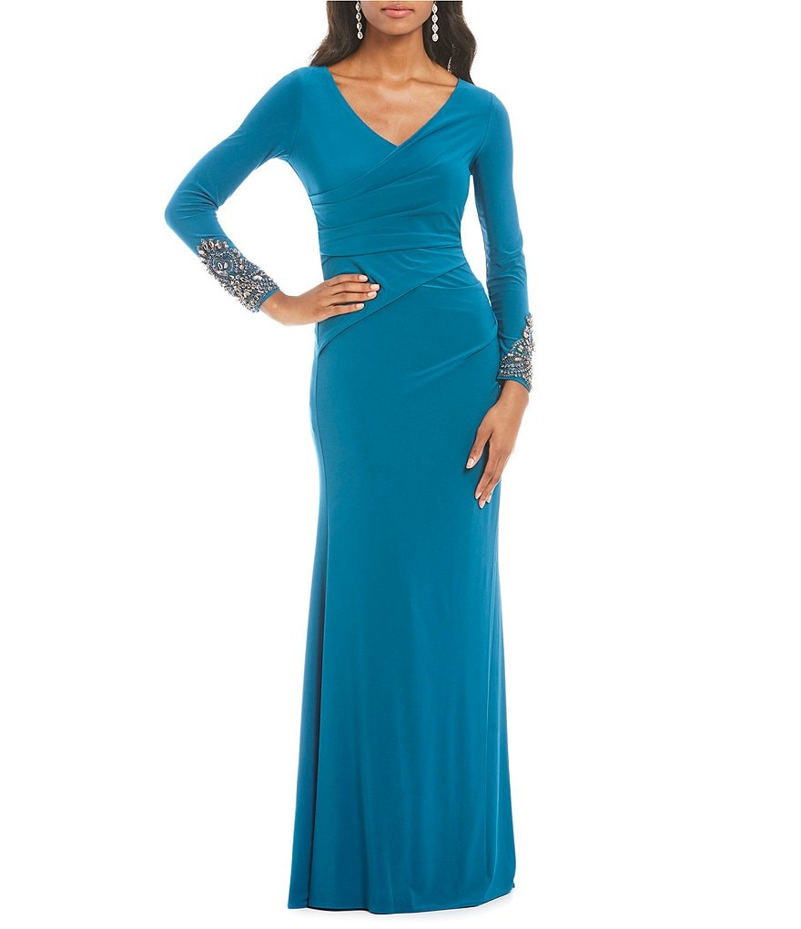 Adrianna Papell V-Neck Embellished Draped Jersey Gown