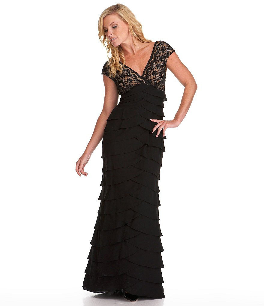 Adrianna Papell V-Neck Lace Tiered Skirt Gown