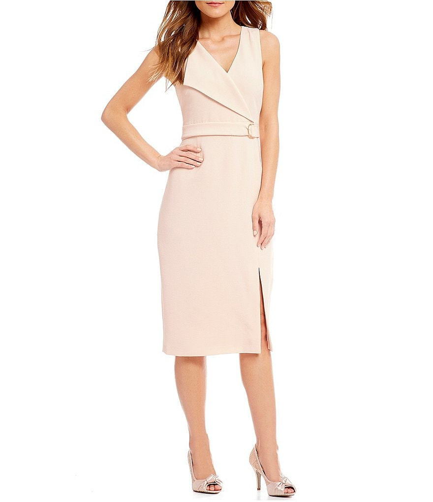 Adrianna Papell Woven Asymmetric Lapel Belted Sheath Midi Dress